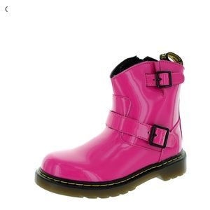 Doc Martens Girls Pink Blip Patent Leather Boots